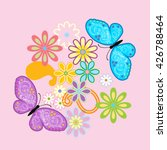 Vector Flowers And Butterfly...