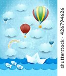 summer seascape with hot air... | Shutterstock .eps vector #426794626