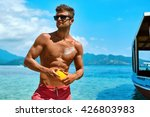 summer skin care. handsome sexy ... | Shutterstock . vector #426803983