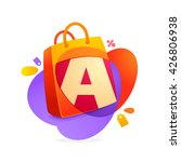 a letter with shopping bag icon ... | Shutterstock .eps vector #426806938
