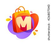 m letter with shopping bag icon ... | Shutterstock .eps vector #426807040