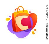 c letter with shopping bag icon ... | Shutterstock .eps vector #426807178