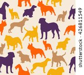 Stock vector dogs silhouette colorful seamless pattern airedale french bulldog cocker spaniel bull mastiff 426811549