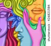 faces colored fantasy | Shutterstock . vector #426821584