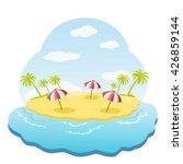 three striped parasol on sandy... | Shutterstock .eps vector #426859144
