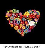 hippie heart print with doves... | Shutterstock .eps vector #426861454