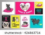 set with cute pugs. printable... | Shutterstock .eps vector #426863716