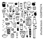 hand drawn doodles of dishware