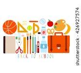 cute set of school supplies on... | Shutterstock .eps vector #426927574