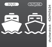 ship line icon  outline and...