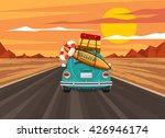 summer travel road vintage car... | Shutterstock .eps vector #426946174