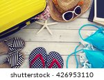 ready vacation suitcase on... | Shutterstock . vector #426953110