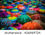Colorful umbrellas interior....