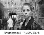 young short hair woman in urban ... | Shutterstock . vector #426976876