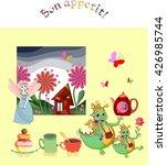 magic tea party. cute little... | Shutterstock .eps vector #426985744