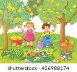 at the garden. fruits. cute... | Shutterstock . vector #426988174