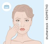 beauty woman face and cream jar.... | Shutterstock .eps vector #426992743