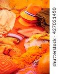 orange clothing display at...   Shutterstock . vector #427021450