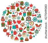 doodle vector icons merry... | Shutterstock .eps vector #427049083