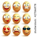vector egg face set of... | Shutterstock .eps vector #427066978