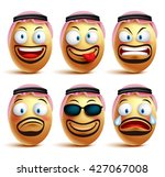 saudi arab man egg faces set of ... | Shutterstock .eps vector #427067008