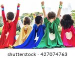 superheroes kids friends... | Shutterstock . vector #427074763
