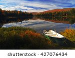Stock photo autumn landscape autumn landscape with colorful forest colorful autumn landscape boat on coast 427076434