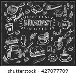 hand drawn breakfast food...   Shutterstock .eps vector #427077709
