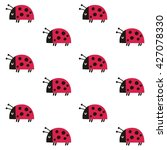 Cute Pattern With Ladybugs