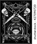 vintage label. skull dagger...   Shutterstock .eps vector #427090720