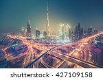 Dubai Skyline At Night With...