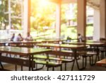 Stock photo blur image of restaurant or cafeteria delicious clean food a place for students to eat food 427111729
