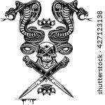 snake tattoo cobra skull and... | Shutterstock .eps vector #427123138