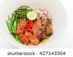 spicy noodle with pork thai... | Shutterstock . vector #427143304