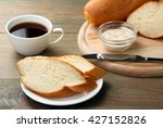 cut the baguette with a knife... | Shutterstock . vector #427152826