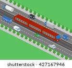 light rail transit system and... | Shutterstock .eps vector #427167946