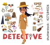 detective female character... | Shutterstock .eps vector #427184026