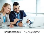 colleagues discussing data on... | Shutterstock . vector #427198090