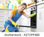 cleaning concept. woman washes... | Shutterstock . vector #427199380