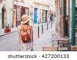 Woman Tourist Walking On The...