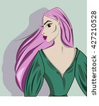 girl with pink hair | Shutterstock .eps vector #427210528