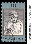 Small photo of ZAGREB, CROATIA - SEPTEMBER 09: a stamp printed in DDR shows Self-Portrait, by Durer, 500th anniversary of the birth of Albrecht Durer, circa 1971, on September 09, 2014, Zagreb, Croatia