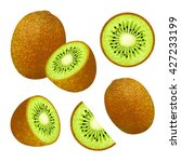 set of fresh ripe kiwi.... | Shutterstock . vector #427233199
