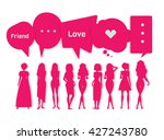 silhouette of young women with... | Shutterstock .eps vector #427243780