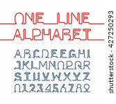 one line alphabet and numbers.... | Shutterstock .eps vector #427250293