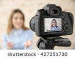 young female blogger on camera... | Shutterstock . vector #427251730