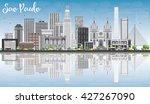 sao paulo skyline with gray... | Shutterstock .eps vector #427267090