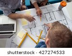 architects working on building... | Shutterstock . vector #427274533