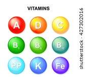 button with vitamins. ascorbic... | Shutterstock .eps vector #427302016