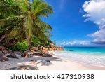 beach on praslin island in... | Shutterstock . vector #427310938